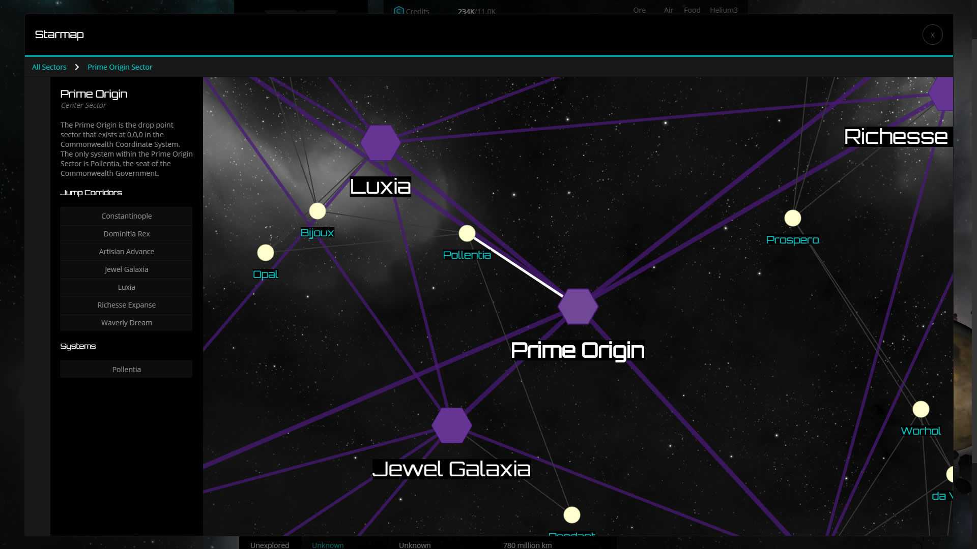 The sector view of the starmap.