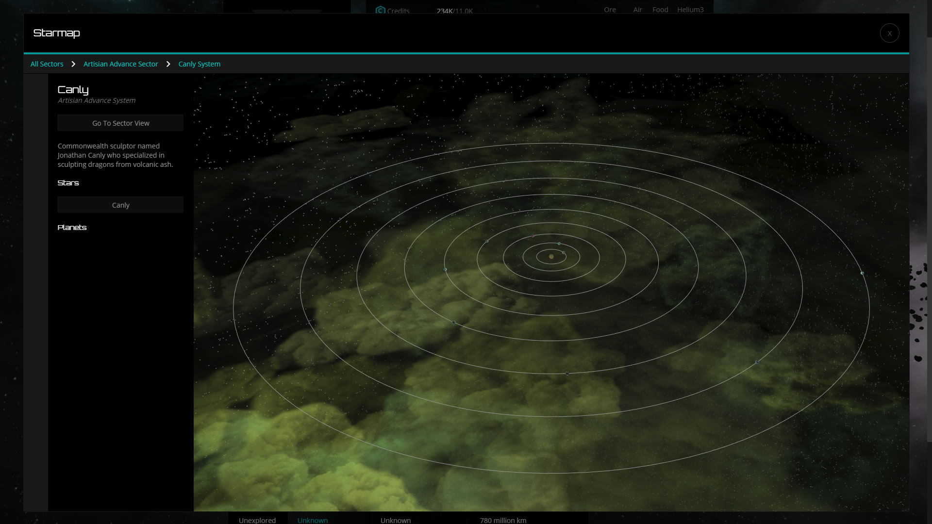 The system view for the starmap.